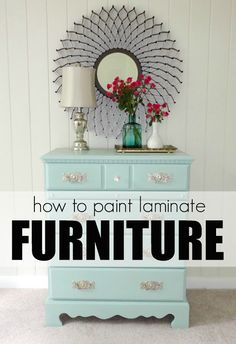 How to paint LAMINATE furniture in 3 steps!  SO easy!