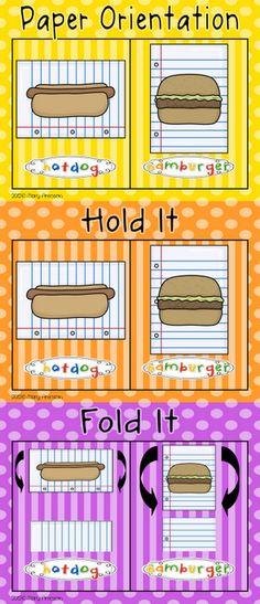 Hamburger/Hotdog paper orientation freebie!