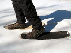 Worn Out Skateboard Snow Shoes