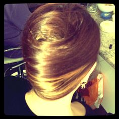 French twist with golden peekaboo highlights