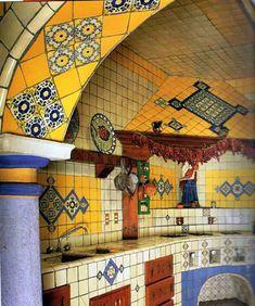 mexican tile, mexican kitchen, kitchen themes, kitchen colors, kitchen backsplash, arches, hacienda style, dream kitchens, kitchen tiles