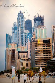 Dubai... beach n buildings #dubai #beach #travel #popular #places