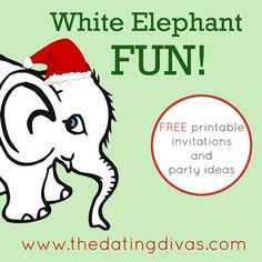 Need some awesome ideas for hosting your own White Elephant Party? We have everything you need here, including printable invitations! www.TheDatingDivas.com #whiteelephant #partyideas #creativedateideas