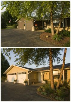 It's amazing what a cheery paint color, charming carriage house style garage doors and a little landscaping can do to revive a worn out ranch home. www.clopaydoor.com