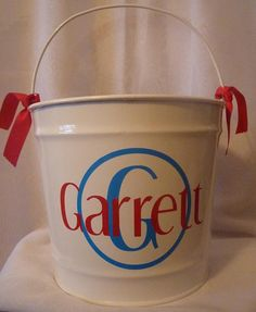 Personalized Easter Basket 10 ct. Metal Pail by Materially Speaking