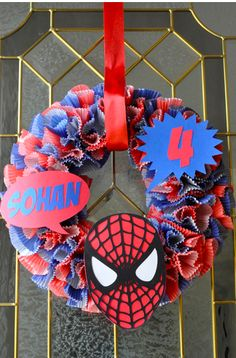 wreath for parties- colored cupcake liners and party themed items! how stinkin' creative!!!