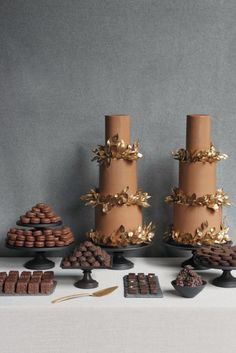 chocolate and gold leaf wedding cakes by Sylvia Weinstock