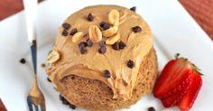 Single-Serving Peanut Butter Microwave Cake - Desserts with Benefits cake desserts, dessert pleas