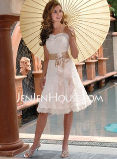 $182.99 - A-Line/Princess Sweetheart Knee-Length Satin Lace with Lace Sashes Beadwork