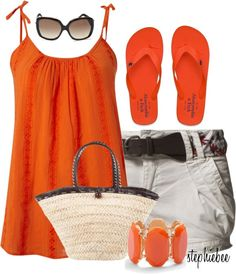 """""""Orange Surf"""" by stephiebees on Polyvore-longer shorts and this would be a perfect Disney outfit for me!"""