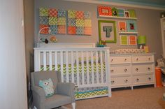 Neutral walls look great with bright pops of color in wall art and frames.  #orange #green #turquoise #nursery #wallart get your wood letters at www.funkyletterboutique.com
