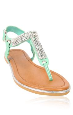 Deb Shops #mint t-strap #sandal with mesh and stones