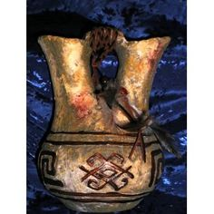 ANASAZI ANCIENT ONES NATIVE AMERICAN INDIAN RITUAL SHAMAN BLESSING SPIRIT PETROGLYPH PRIMITIVE DECOR LARGE DUAL SPOUT STORAGE JUG, Ancient Pueblo Anastasi Mystic Spirit Vision Relic Gallery Style Decorative Pottery