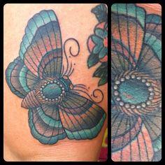 Crazy moth tattoo. Jenn Small from Blood Sweat and Tears Tattoo. Charlotte NC