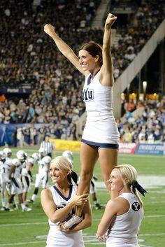 BYU Cheerleaders by byufantasy, via Flickr  cheerleading moved from Cheerleading: Utah Schools: BYU, Utah, UVU, Weber, USU (Aggies, Utes, Cougars) board http://www.pinterest.com/kythoni/cheerleading-utah-schools-byu-utah-uvu-weber-usu-a/ m.16.44  #KyFun