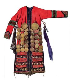 Numinchen shamans robes with brass mirros and bell pendants
