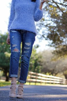 Shaggy sweater and boyfriend jeans