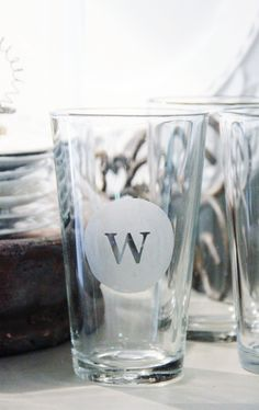 party favors, monogram glass, store glass, glass etching, gift ideas, wine glass, dollar store, wedding gifts, christmas gifts
