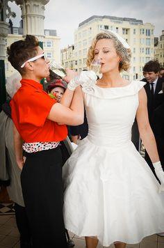 Retro 50s wedding dress, wedding bride