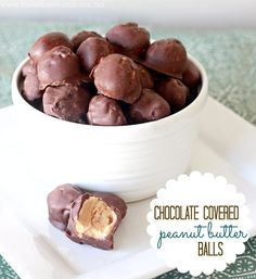 Chocolate covered peanut butter balls... these look super easy and yummy!