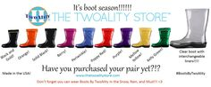 Happy #TwoAlityTuesday!!!! Who is excited that it's boot season!?!? #RainStyle #FallStyle #SnowStyle #Gift Get your pair today at www.thetwoalitystore.com!!! #ClearBoots #interchangeableLiners #MadeintheUSA #BootsByTwoAlity