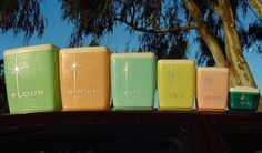 Pastel vintage canisters