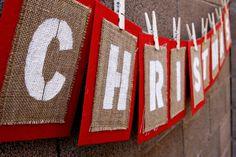 Burlap Bunting Christmas Decoration