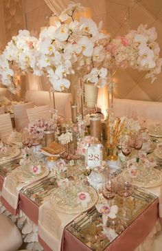 Pink And Champagne Wedding Tablescape-B. Lovely Events Tablescape Centerpiece www.tablescapesbydesign.com https://www.facebook.com/pages/Tablescapes-By-Design/129811416695