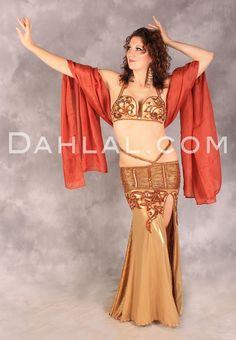 TAWNY TEMPTRESS in Gold and Chocolate by Designer Queen Hanan, Egyptian Belly Dance Costume