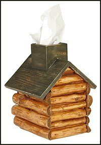 Keep tissues in this rustic wood log Cabin Tissue Box that seems to always have an inviting trail of smoke coming from the chimney.