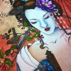 Geisha nearly complete, hanging blossom to complete now...