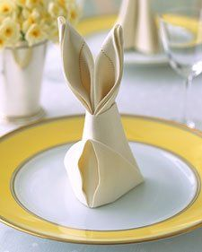 """Learn how to make """"bunny ears"""" with your napkins for your Easter Sunday dinner : )"""