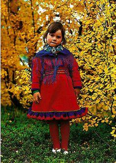 Norway Girl in traditional dress of the Sami people from Karasjok, Norway