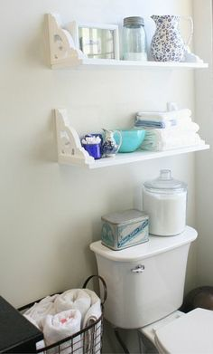 Vintage Inspired DIY Shelves. I'd flip these upside down and paint them.