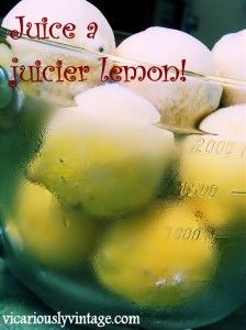 """How to juice a juicier lemon:  Many people are under the impression that to freeze lemons, you have to juice them & freeze the juice. I did that for a long time. Several years ago, I had to """"save the lemons"""" & didn't have time to juice them. I threw them all in the freezer whole &...  Read More at www.vicariouslyvintage.com/2013/05/21/how-to-juice-a-juicier-lemon-and-other-citrus-fruits-26-citrus-recipes/"""