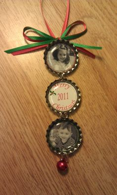 Bottle cap ornaments with kid's pictures!