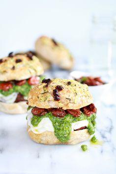 Pesto Portobello or Chicken Burgers with Marinated Roasted Tomatoes!