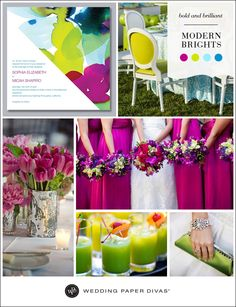 For the couple who doesn't shy away from color, why not go all out with bold, brilliant hues. To keep your wedding theme from looking too loud, focus on one bright color as your main hue, and use the other colors as accents.