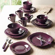 BrylaneHome 16-Pc Embossed Dinnerware Set (PURPLE,0),Price: $49.99   Sale: $34.99
