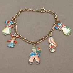 Holland Charm Bracelet Vintage 12k Gold Filled Enamel