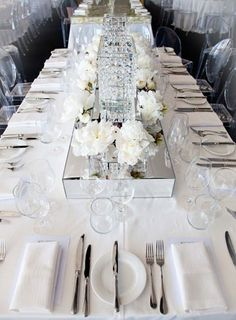 All white #wedding reception ... Wedding ideas for brides, grooms, parents & planners ... https://itunes.apple.com/us/app/the-gold-wedding-planner/id498112599?ls=1=8 … plus how to organise an entire wedding, without overspending ♥ The Gold Wedding Planner iPhone App ♥