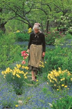Tasha Tudor in the garden--she had the coolest life, on her own farm, with all her goats and Corgis and bunnies and fowl, and she illustrated some really wonderful children's books