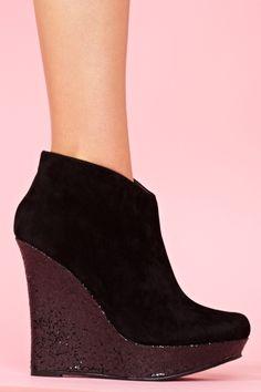 Glitter Wedge Boot in Black
