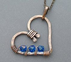 wire wrap, bead, copper, heart jewelry, pendant, necklac, swarovski crystals, jewelri, blues