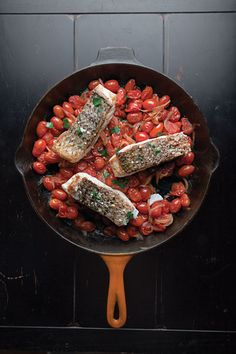 Fresh summer tomatoes and juicy fish filets come together in an easy, one-skillet meal. It calls for only four ingredients, making it perfect for a weeknight dinner.
