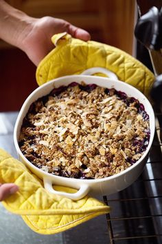 Simple Oat and Blueberry Crisp - warm, juicy blueberries with a healthier crumbled topping. | pinchofyum.com #blueberry #crisp #recipe #frui...