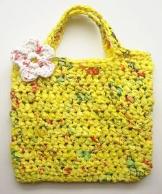 Tote bag made from shopping bags.