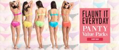 Flaunt rainbow of colors with fun naughty prints  Prettysecrets The Flirty Bikini Panty Pack  Shop Now http://prettysecrets.com/prettysecrets-the-flirty-bikini-panty-pack-of-5