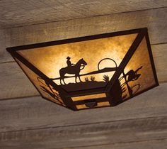 Cowboy at Sunset Ceiling Mount Light