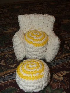 Crochet - Doll Chair and Footstool